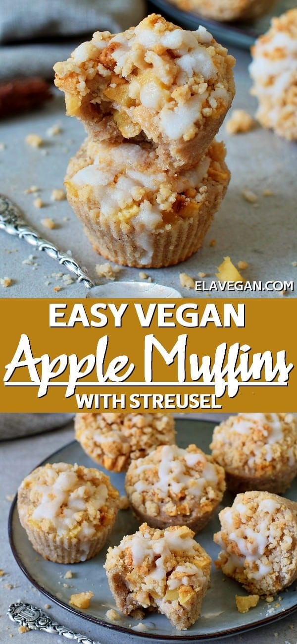 Pinterest Collage Easy Vegan Apple Muffins With Streusel