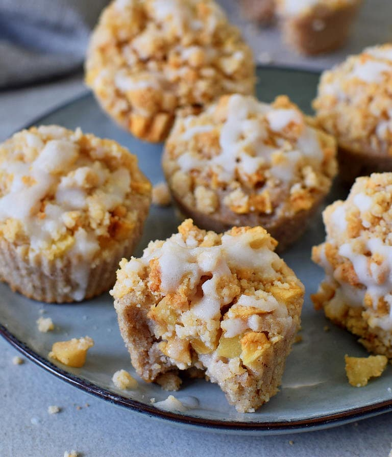 best vegan apple crumble muffins with sugar-free glaze