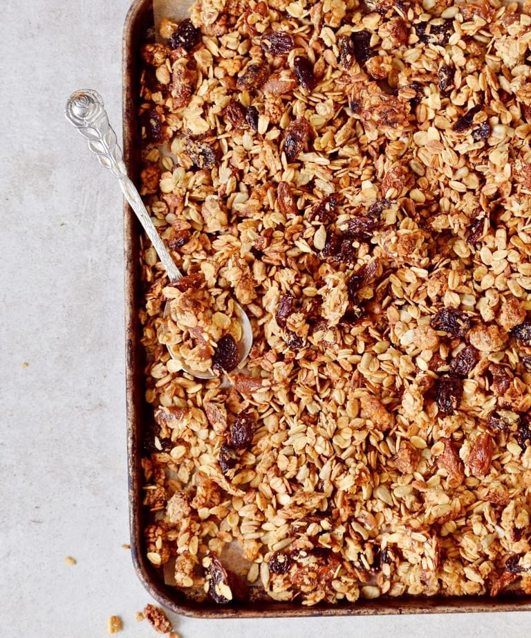 gluten-free homemade nut-free granola on a baking tray