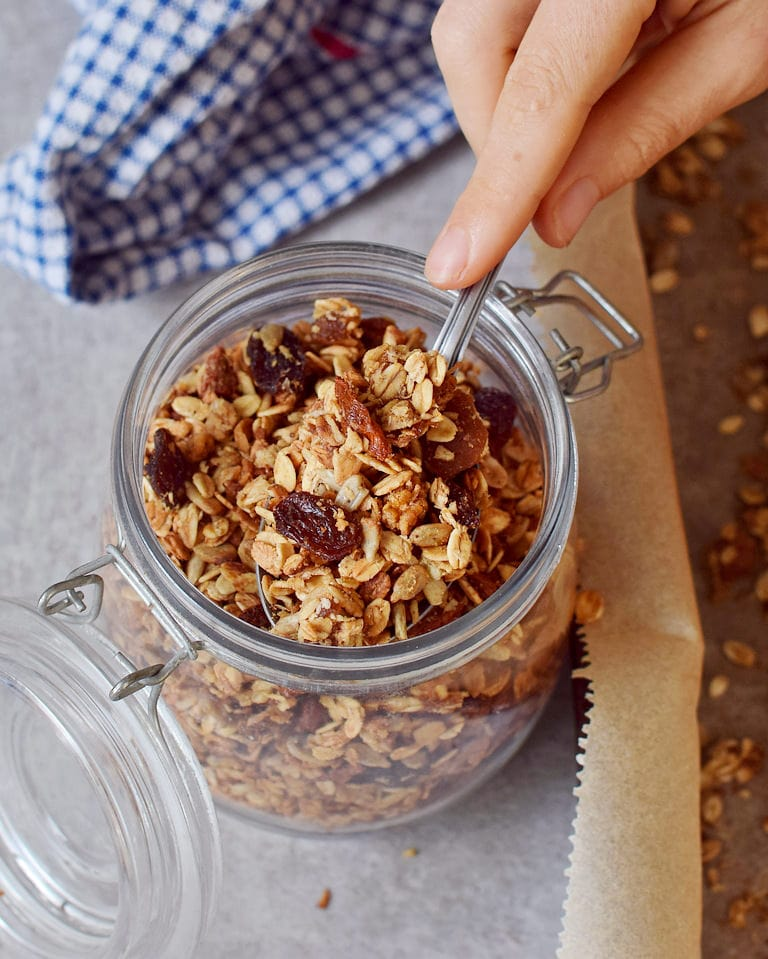 homemade nut-free granola in a jar