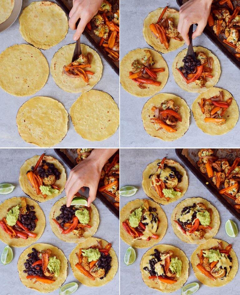 Selbstgemachte glutenfreie Tortillas mit Fajita Gemüse wie geröstetem Blumenkohl, schwarzen Bohnen, Guacamole, Paprikas und veganem Käse