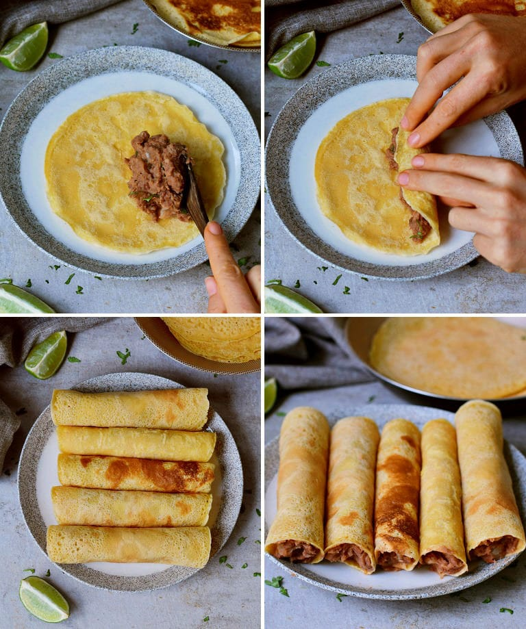 how to make taquitos with mashed beans