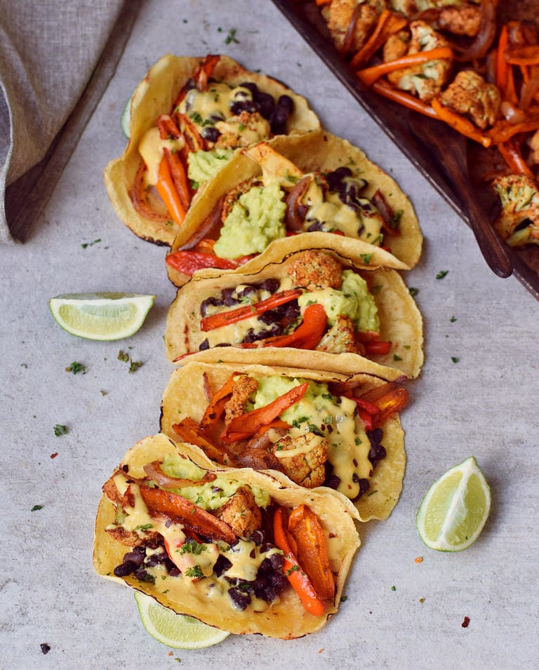 meat-free fajitas with black beans roasted cauliflower and peppers