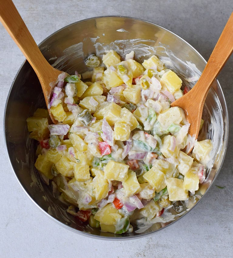 oil-free salad with potatoes in a big silver bowl
