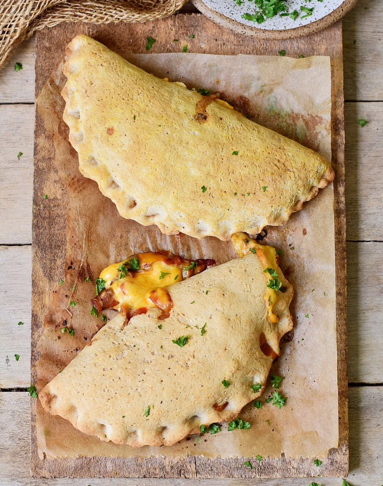 two plant-based gluten-free pizza pockets from above