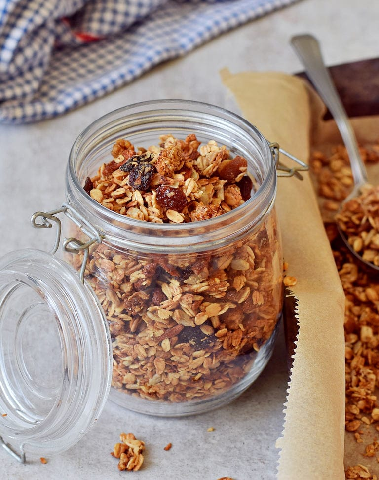 vegan homemade nut-free granola in a jar