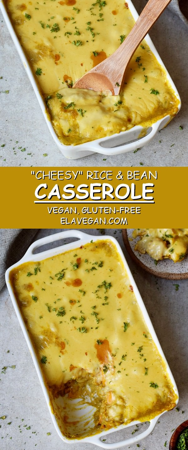 Creamy rice and bean casserole with vegan gluten-free cheese