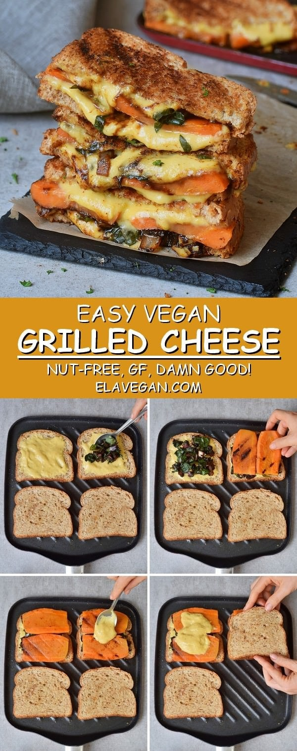 Easy Vegan Grilled Cheese nut-free, gluten-free, best recipe