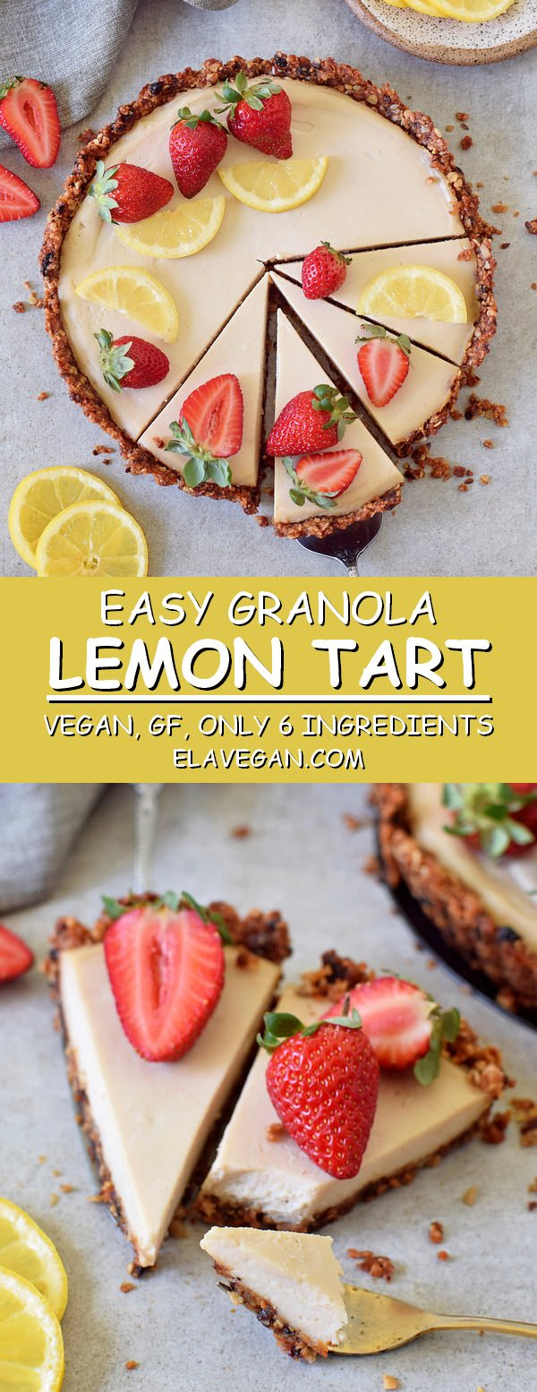 Easy granola lemon cheesecake tart vegan gluten-free