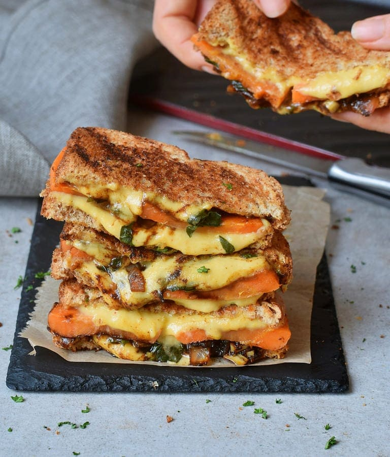 Eating easy vegan grilled cheese sandwiches