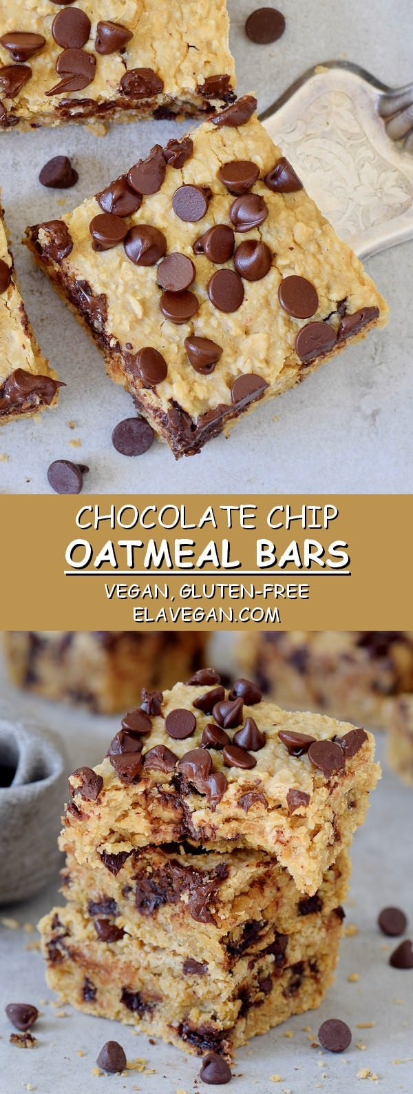 Healthy Chocolate Chip Oatmeal Bars Vegan Gluten-Free