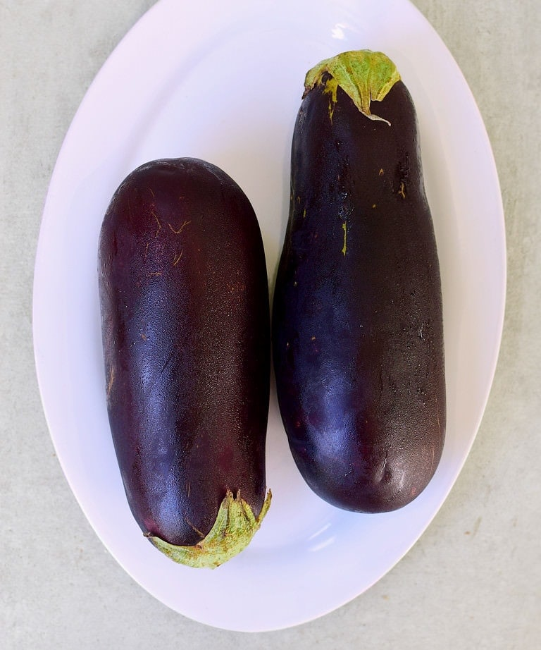 Two eggplants (aubergines)