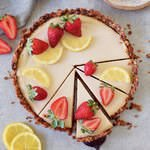 vegan gluten-free granola lemon cheesecake tart recipe