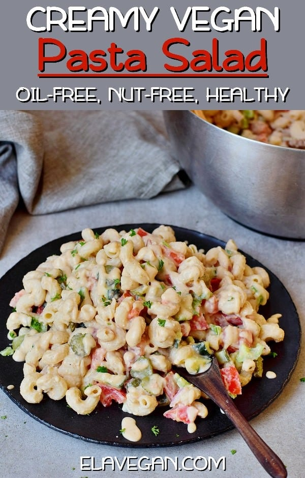 Healthy vegan pasta salad with oil-free and nut-free dressing pinterest