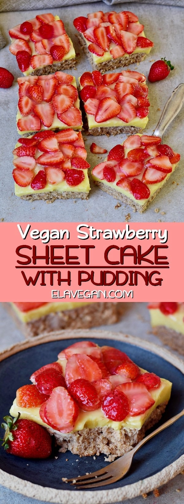Vegan Strawberry sheet cake with pudding