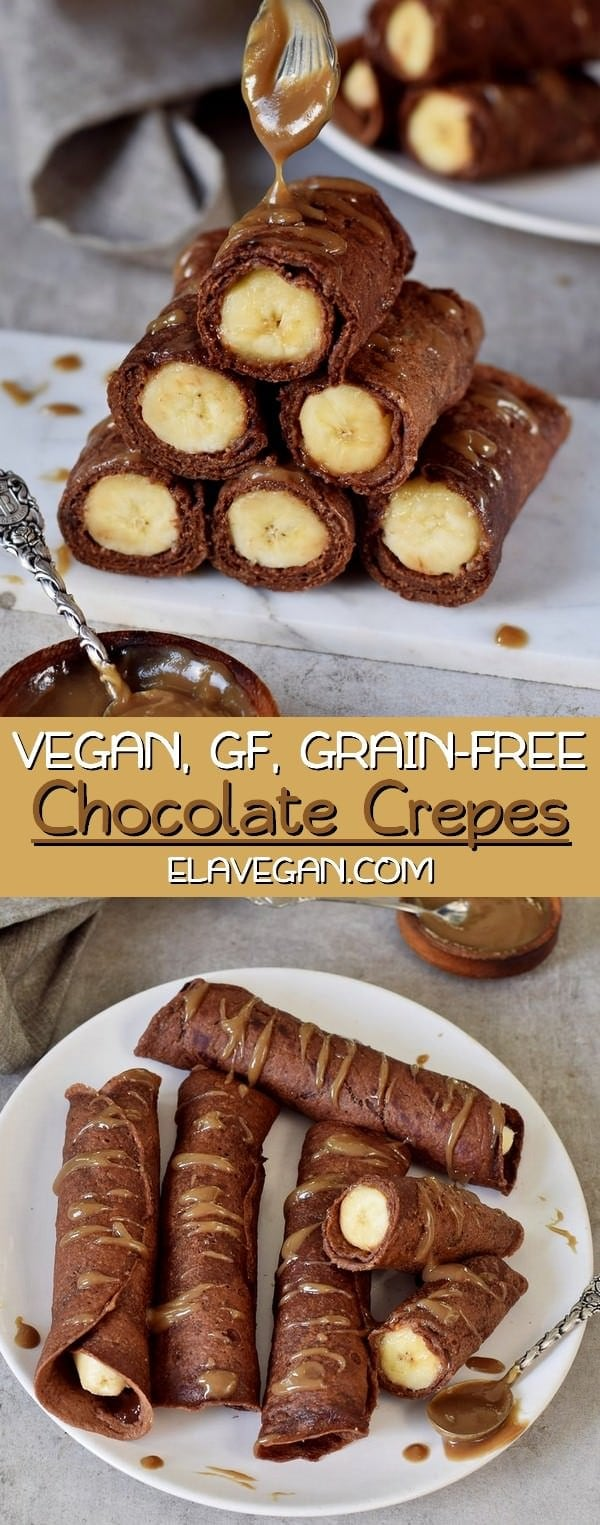 easy vegan banana stuffed chocolate crepes gluten-free grain-free