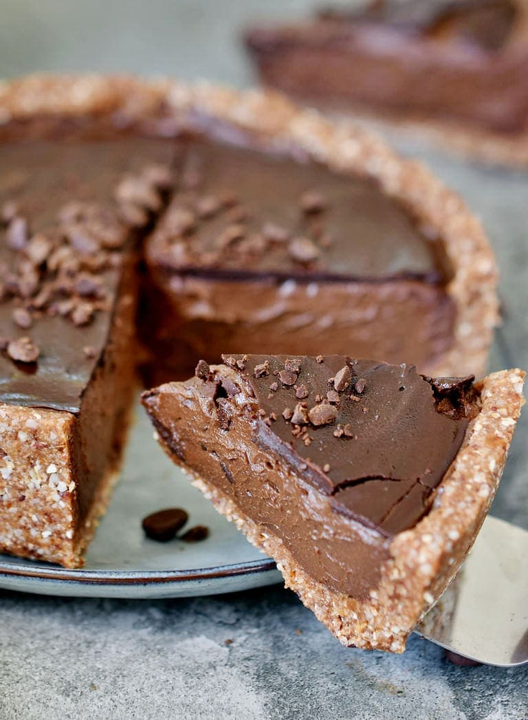 Creamy gluten-free dairy-free chocolate fudge tart
