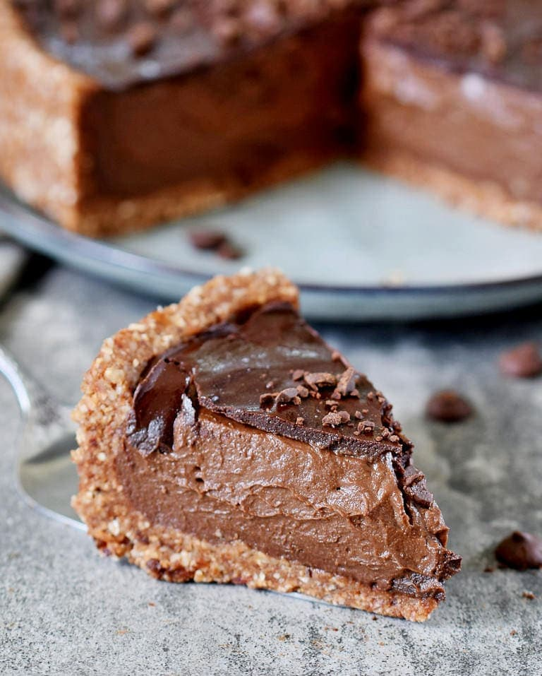 One piece of healthy vegan chocolate pie