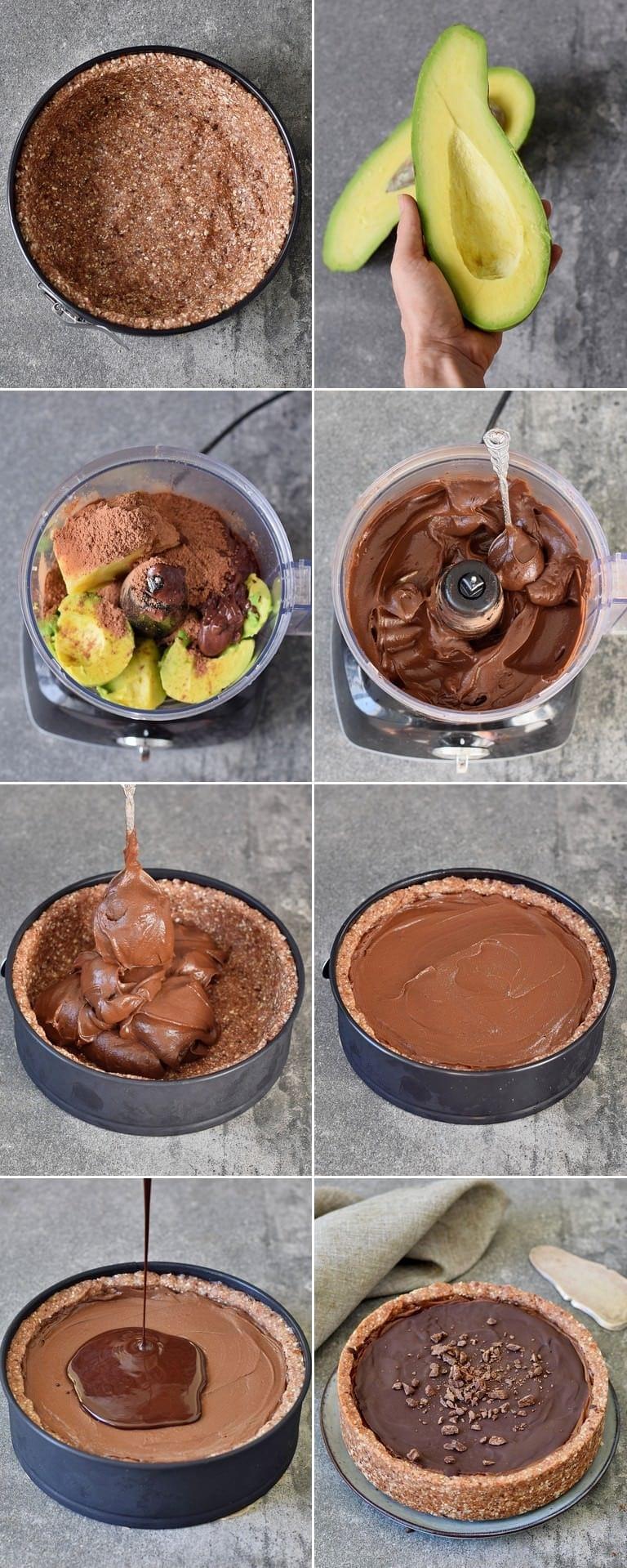 Wie macht man eine Schokoladen Tarte mit Avocado?