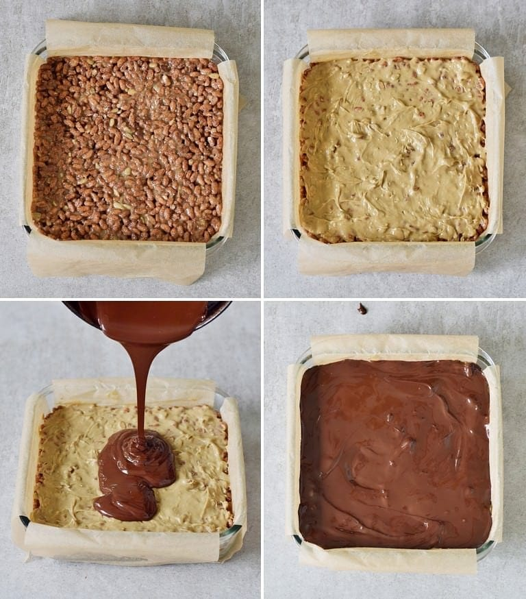 how to make peanut butter crunch bars with chocolate