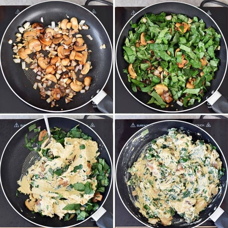 how to make hummus with mushrooms and spinach