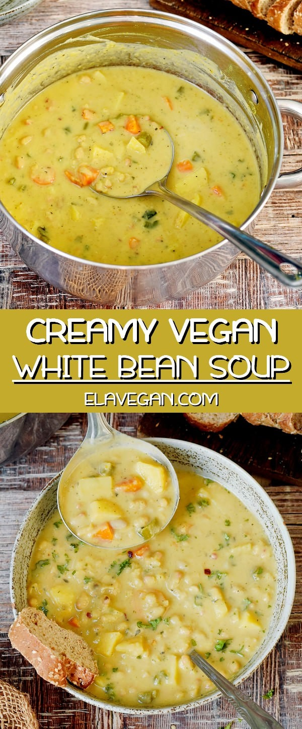 Creamy vegan white bean soup recipe