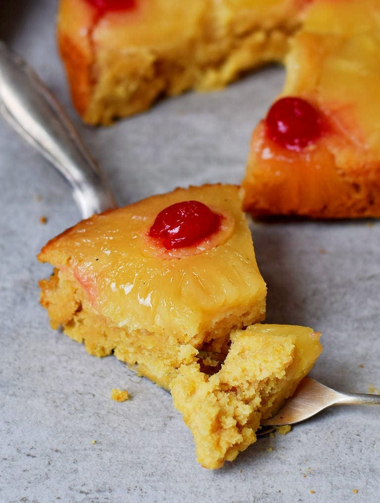 Piece of pineapple pie with cherries