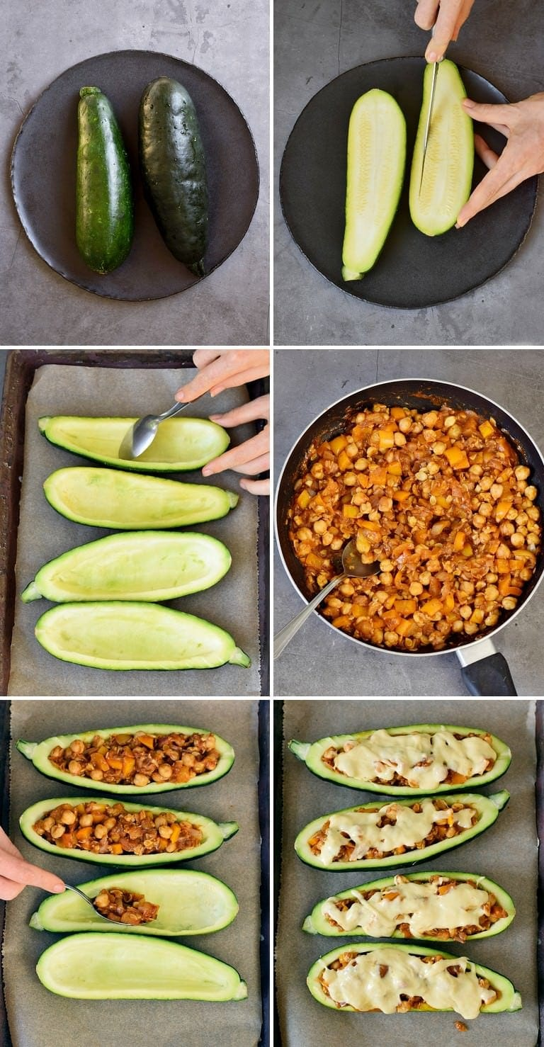 How to make stuffed vegan zucchini boats