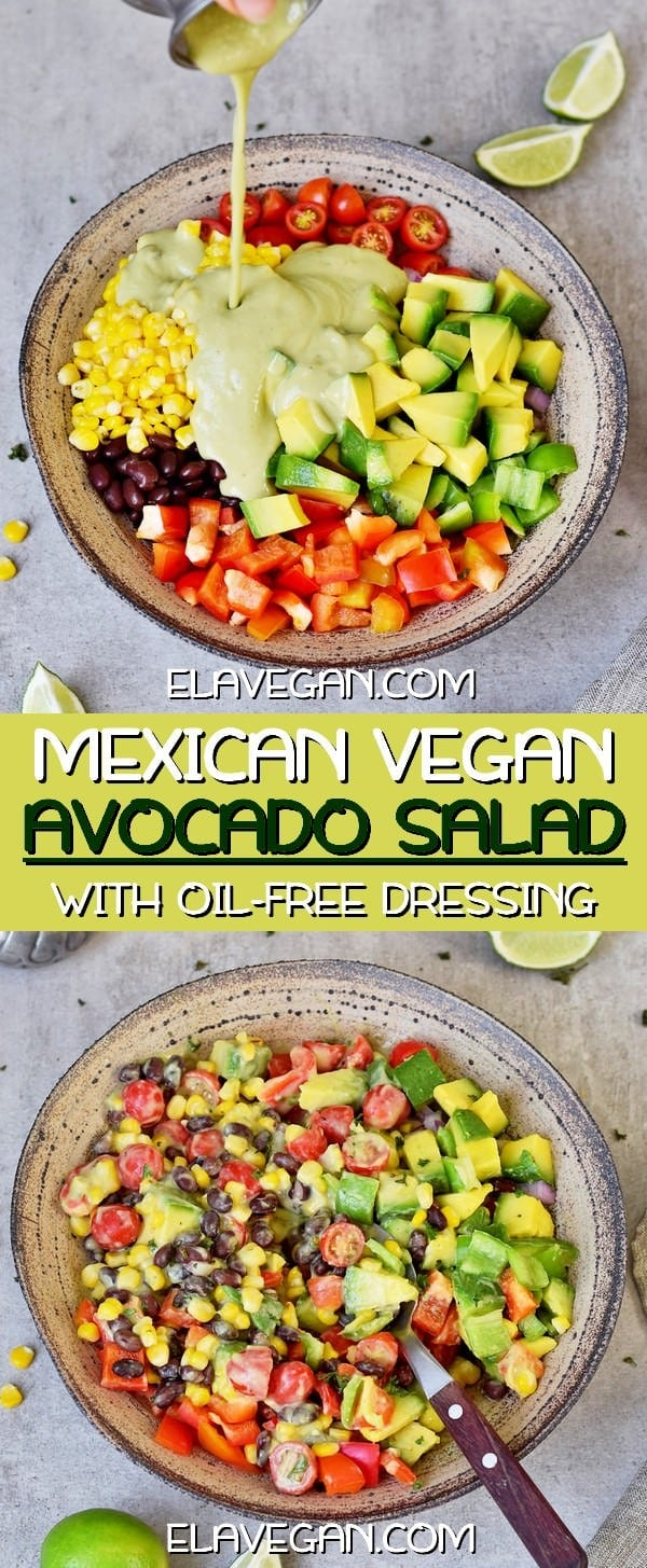 Mexican Avocado Salad with oil-free dressing
