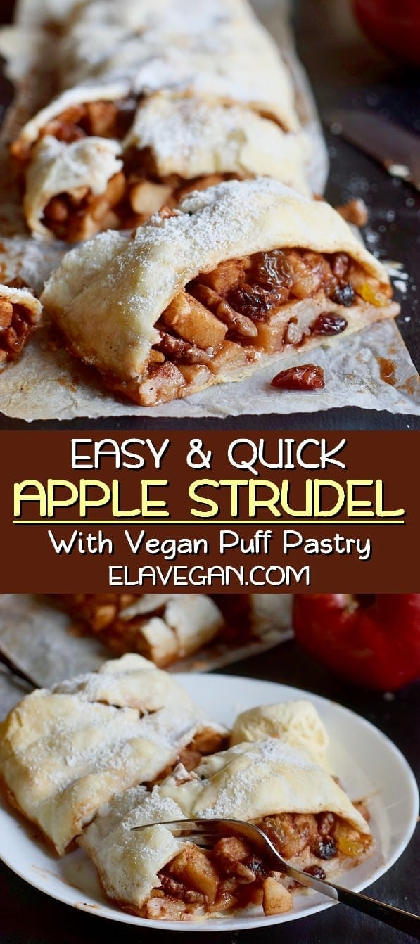 Easy and quick apple strudel with vegan puff pastry