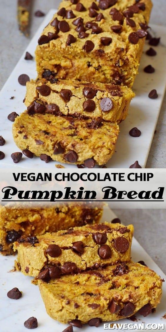 Pinterest Collage vegan chocolate chip pumpkin bread