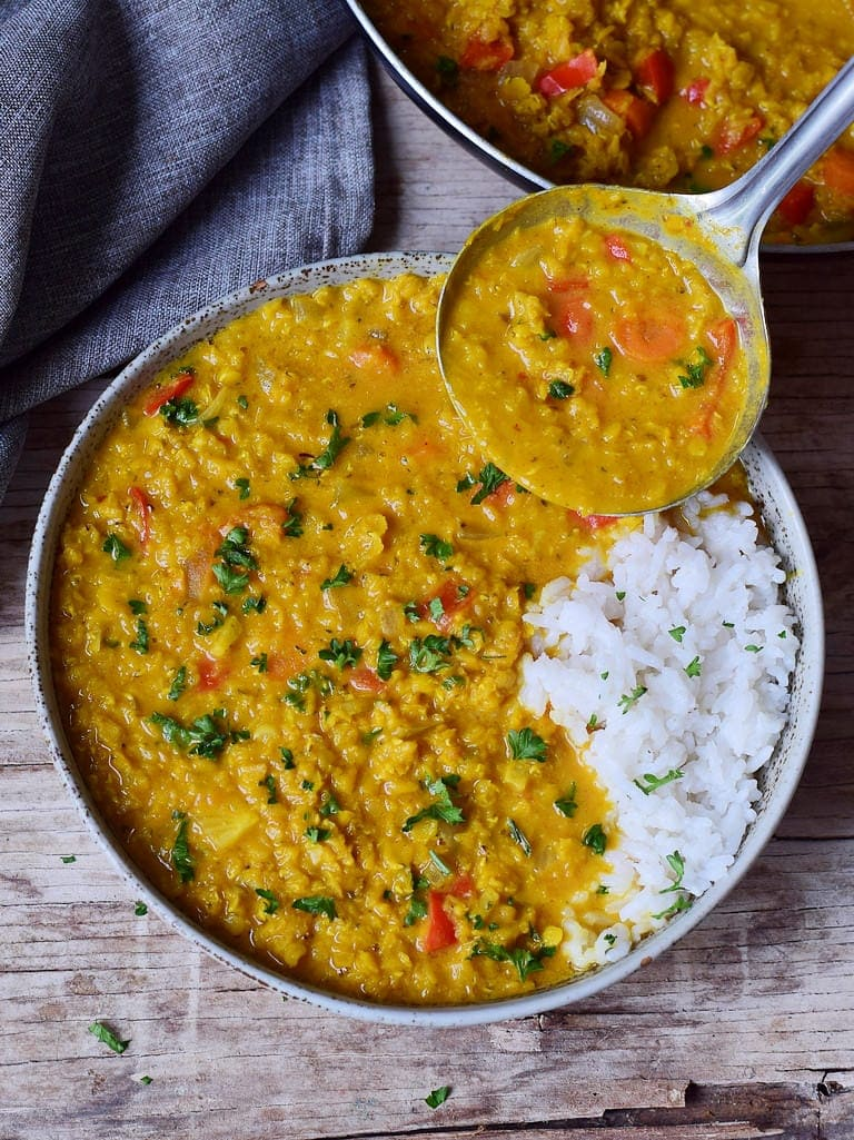 Red Lentil Dhal with rice