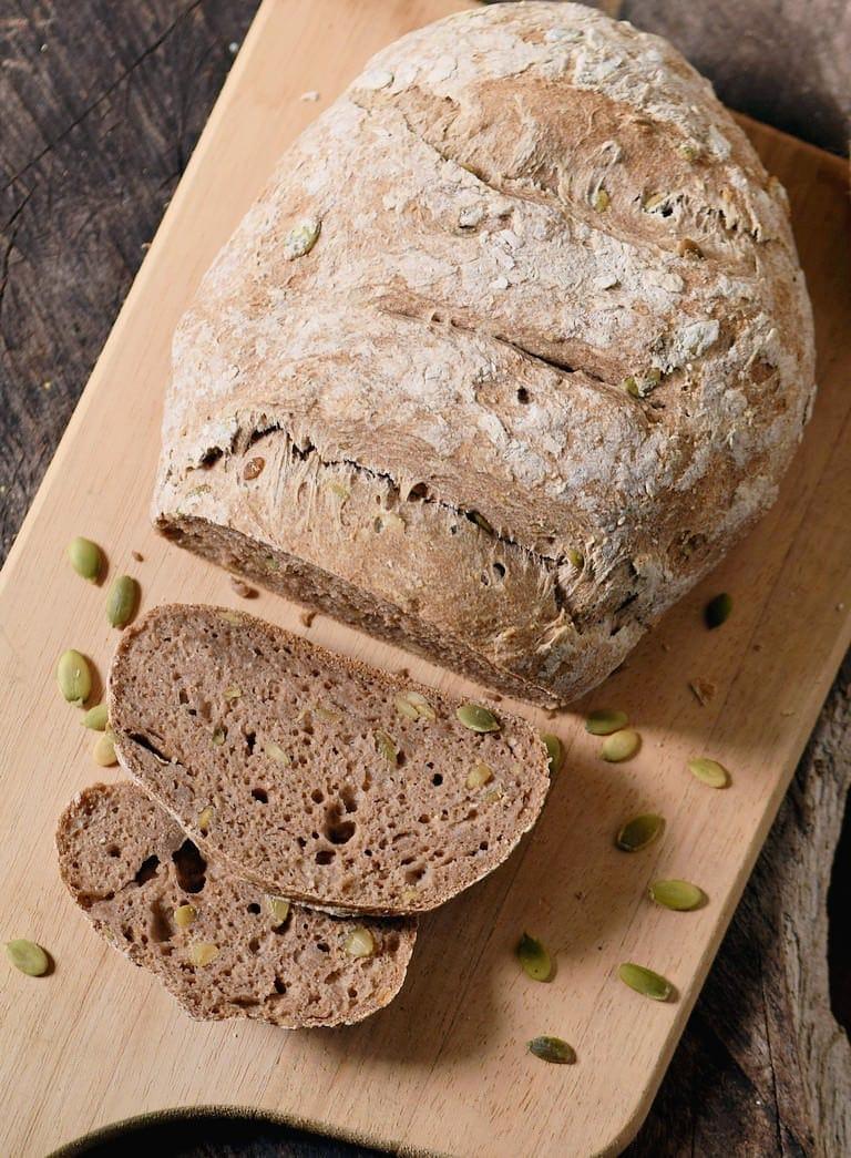 sliced gluten-free vegan bread from above