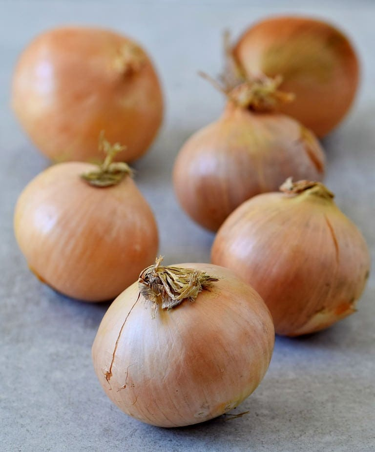 6 onions on a gray tile
