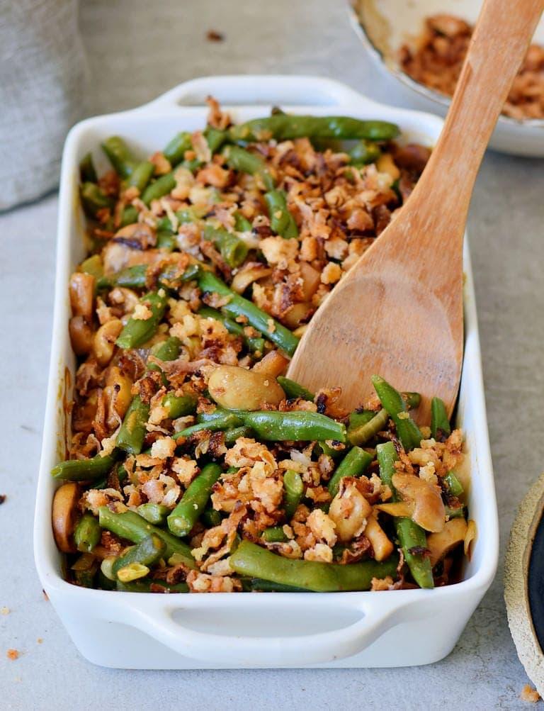 baked vegan green bean casserole