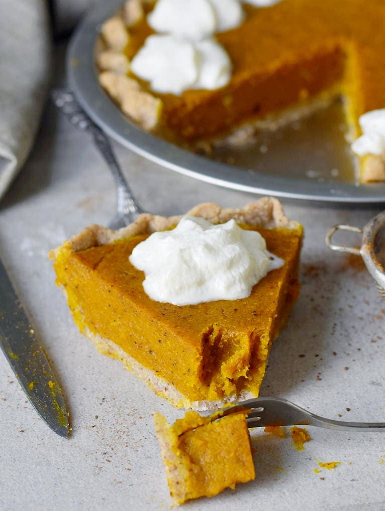 eating gluten-free vegan pumpkin pie