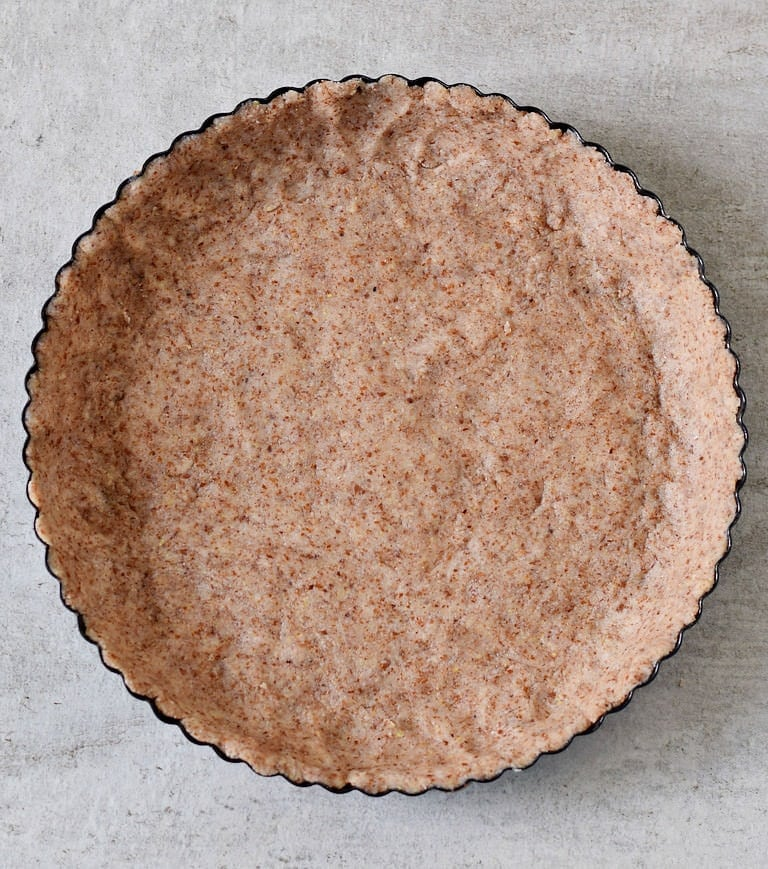 gluten-free pie crust in a tart pan