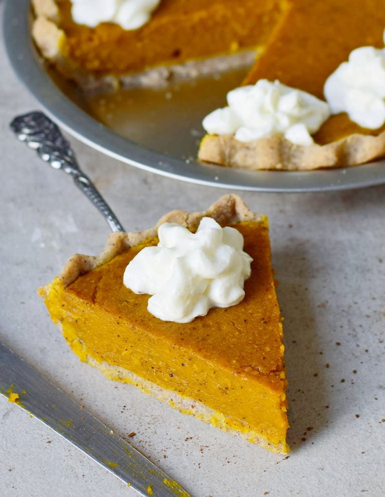 gluten-free pumpkin cake with whipped cream