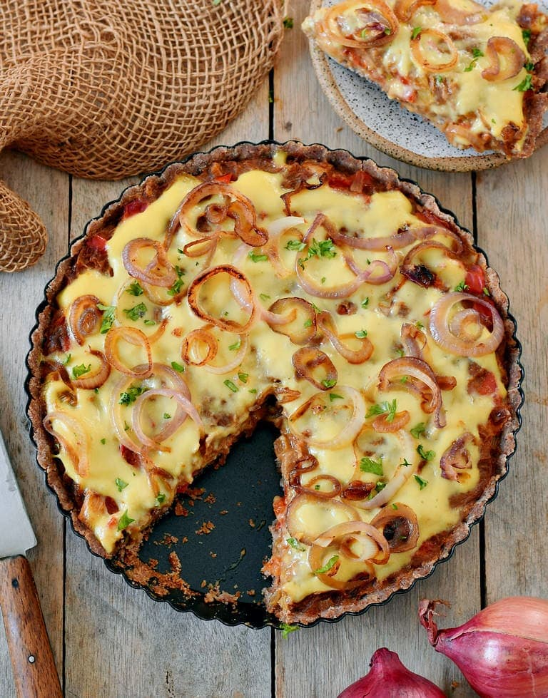 healthy tart with vegan cheese and caramelised onions