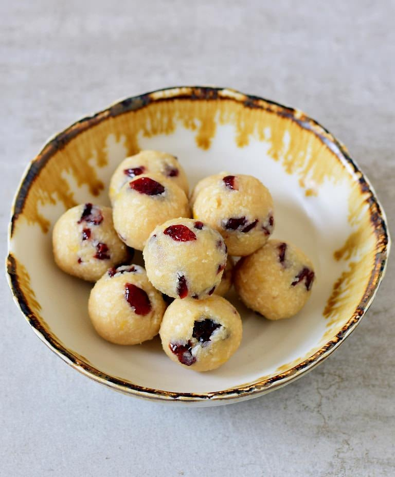 homemade lemon coconut balls with cranberries