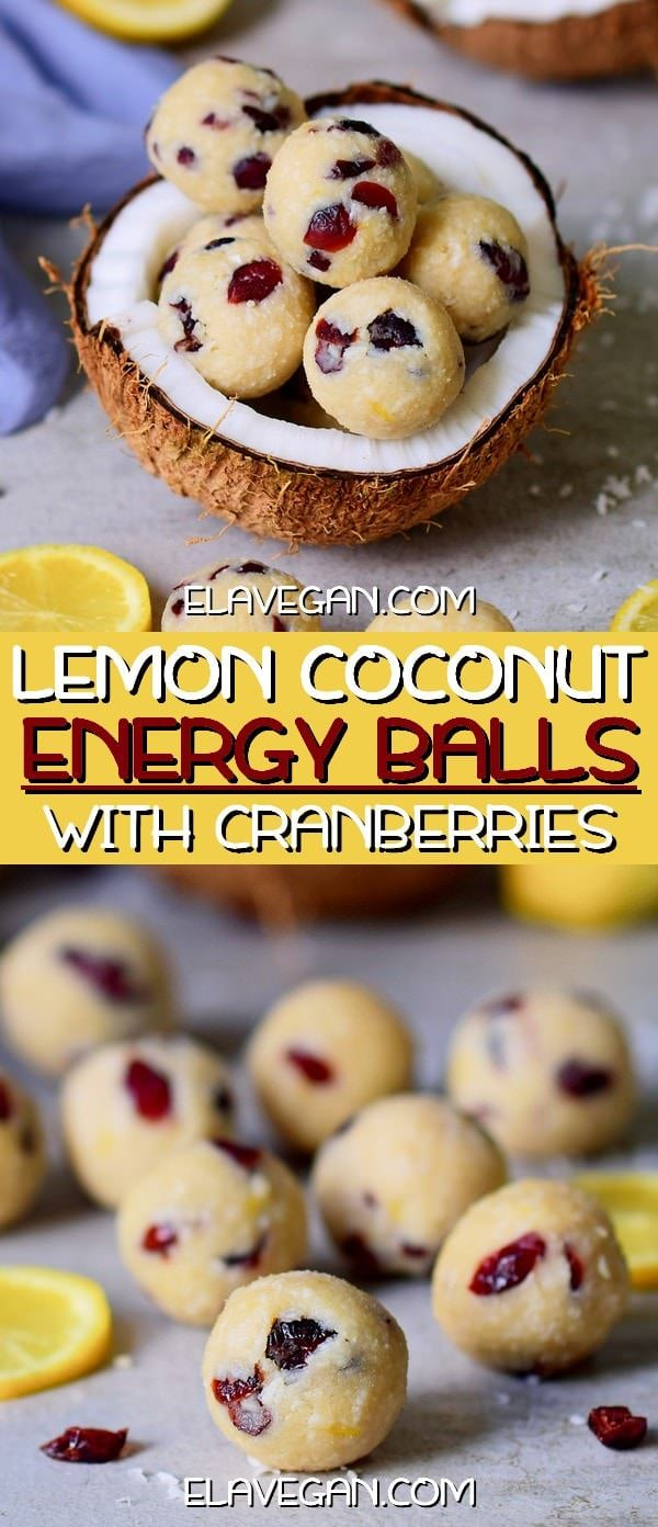 lemon coconut energy balls with cranberries