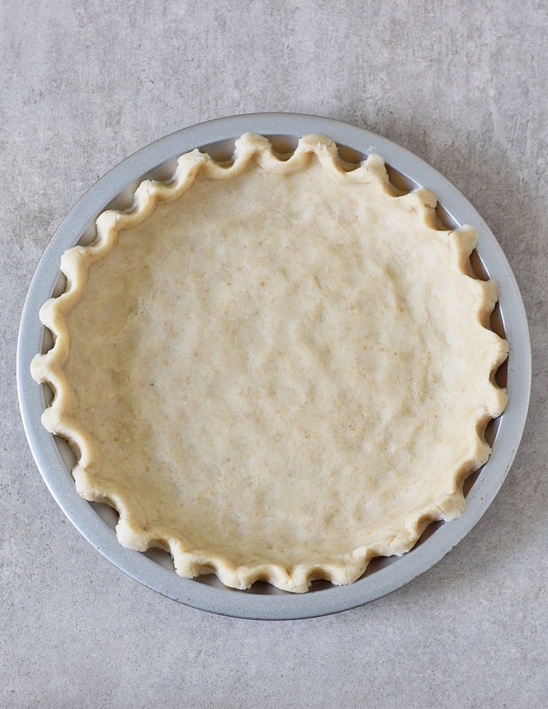 gluten-free pie crust in a pan