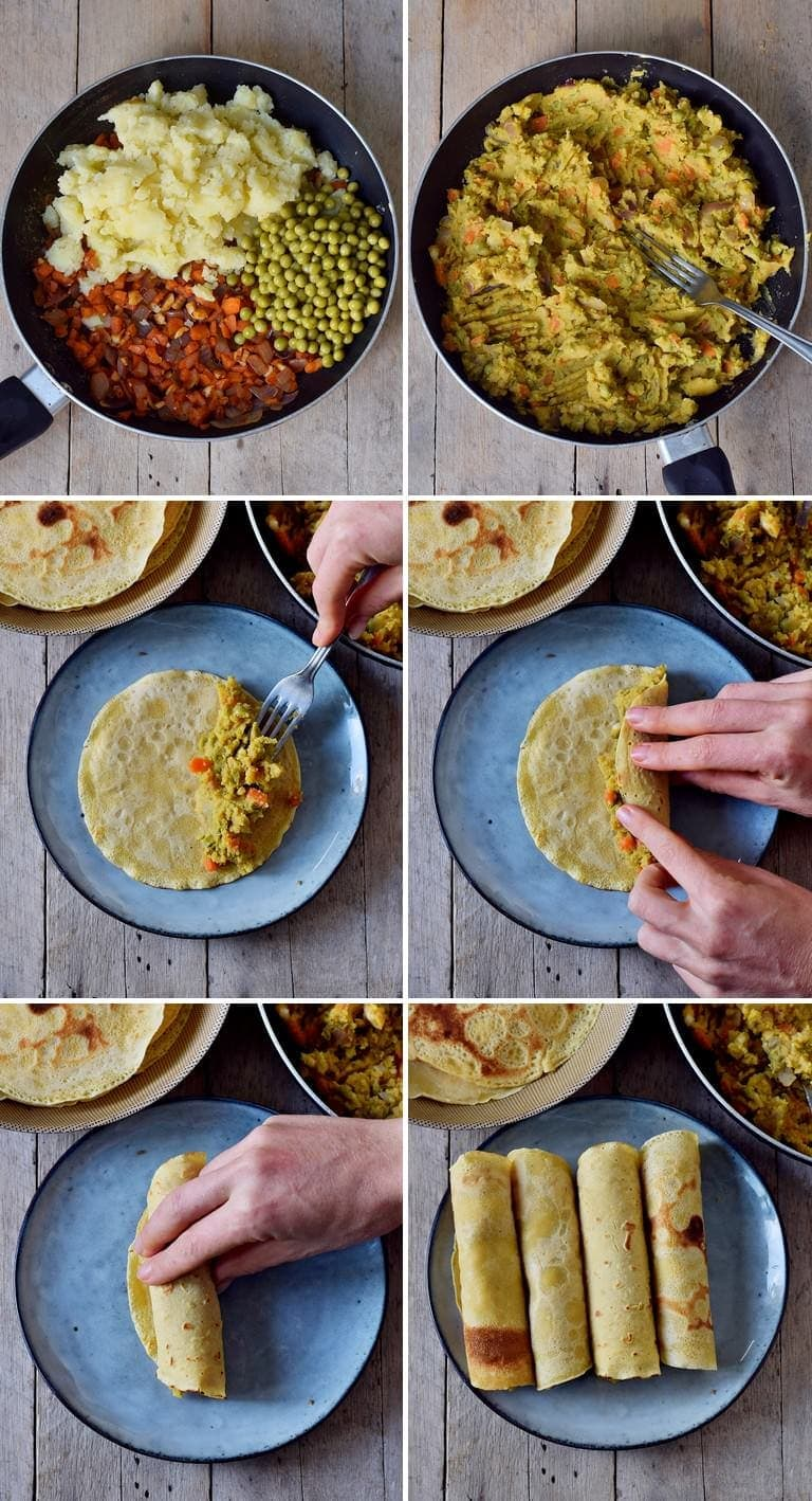 6 process shots of how to make vegan taquitos with veggies