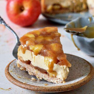one piece of vegan caramel apple cheesecake pie