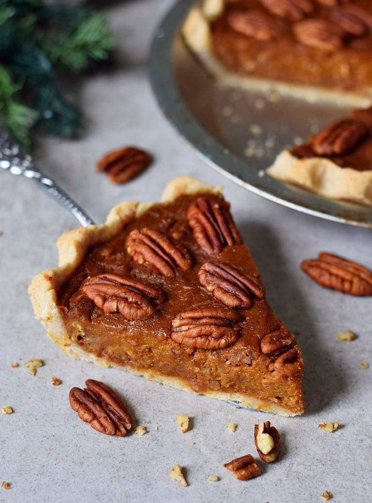 vegan pecan pie piece