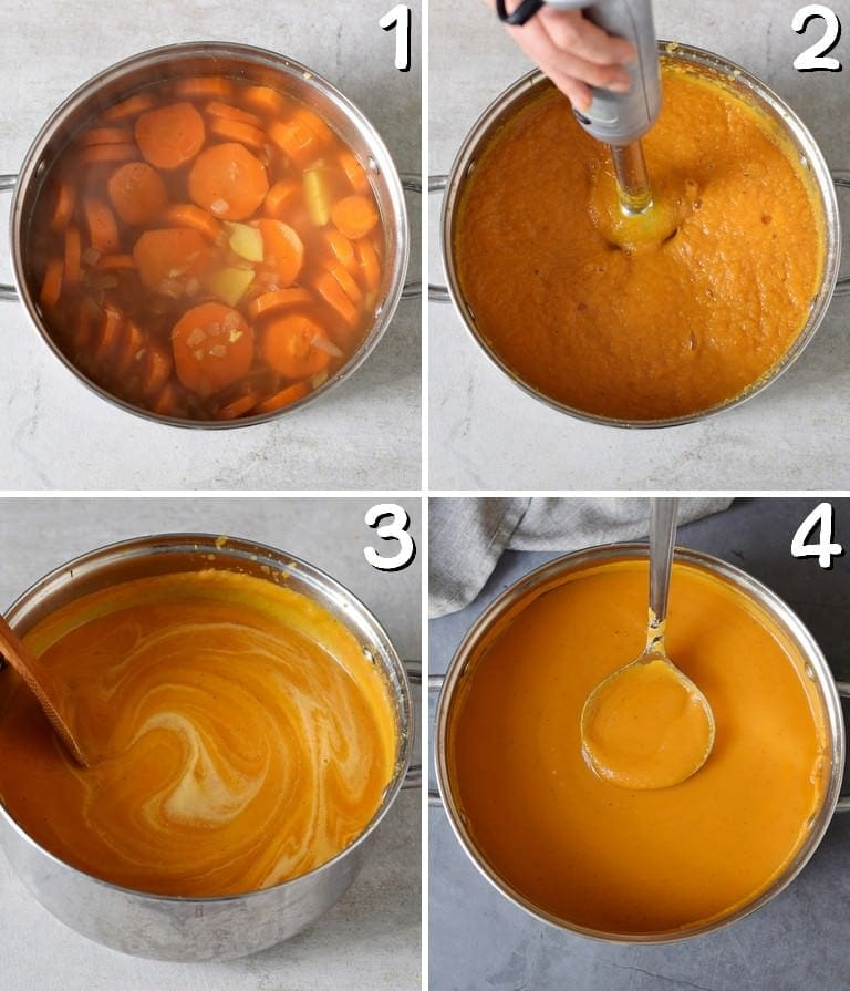 4 process shots of how to make a vegan carrot soup in a pot