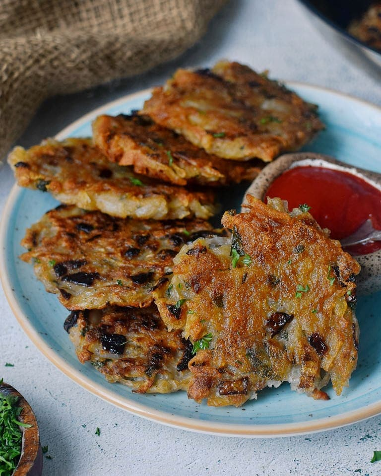 crispy golden hash browns on a plate