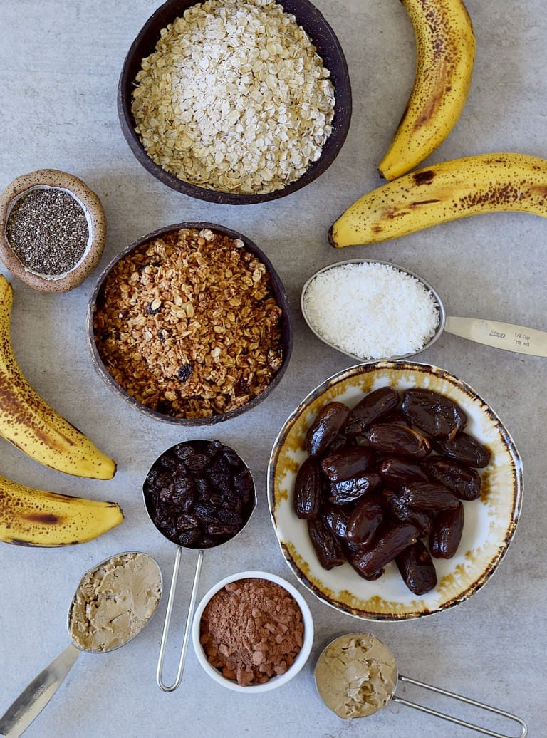 oats, granola, bananas, dates, raisins, desiccated coconut, sunflower seed butter, cocoa powder, chia seeds