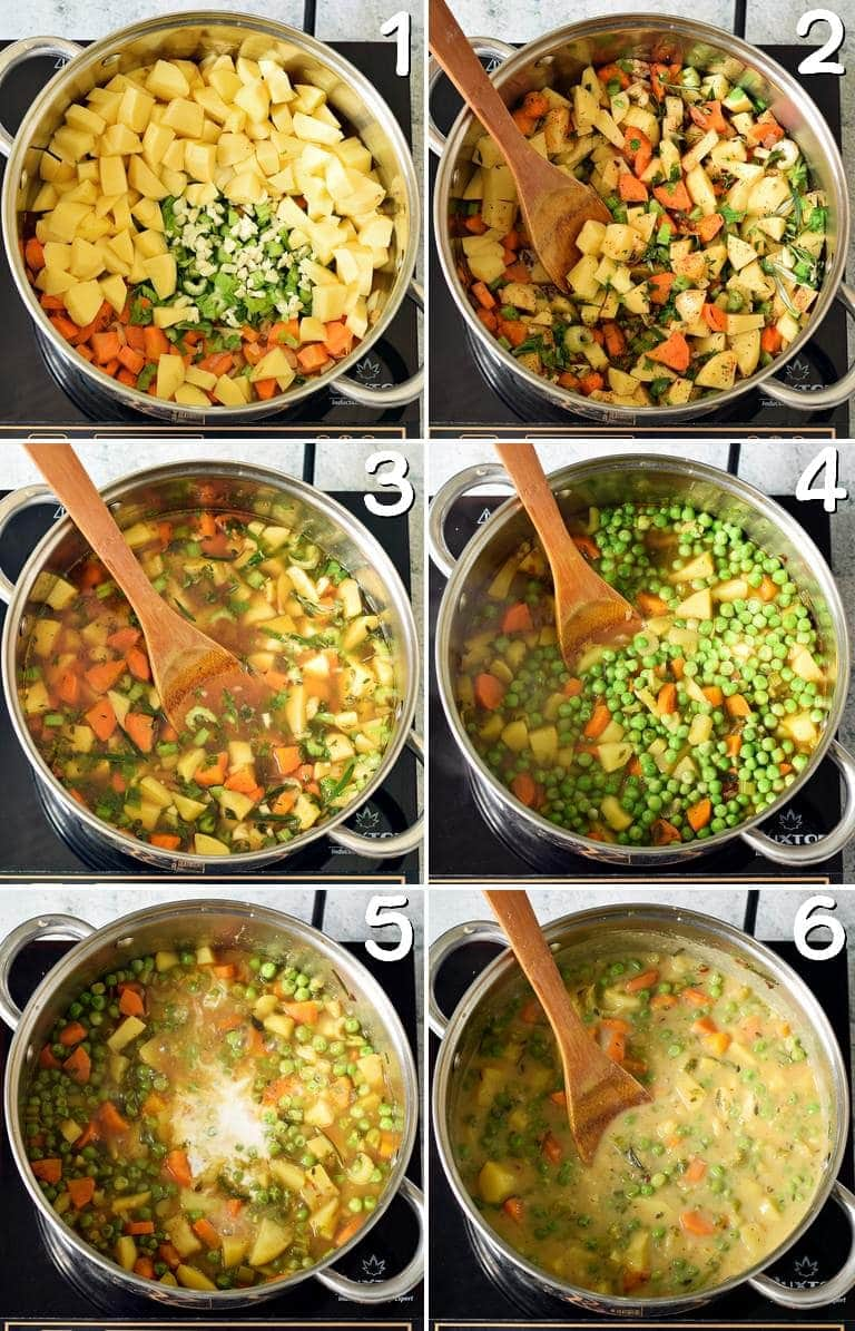 process shots of how to make a veggie stew with green peas