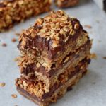 stack of three granola chocolate bars